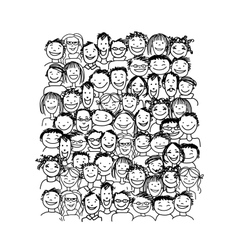 Group of people sketch for your design vector