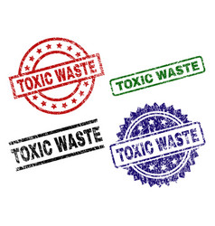 Grunge textured toxic waste seal stamps vector