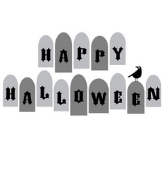 halloween typography with tombstones and raven vector image