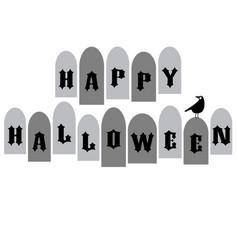 Halloween typography with tombstones and raven vector