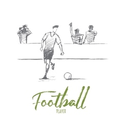 Hand drawn football player with lettering vector