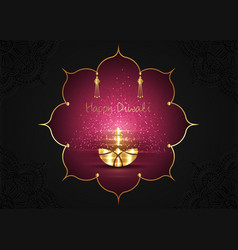 happy diwali festival lights and oil gold lamp vector image