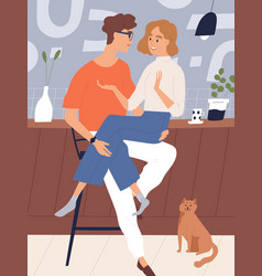 happy young couple at kitchen sitting together vector image