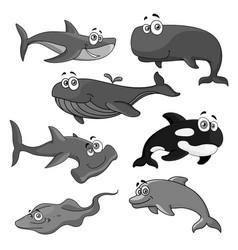 icons sea ocean fish cartoon animals vector image