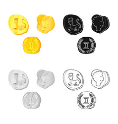 Isolated object coins and antique icon vector