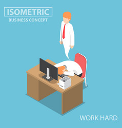 Isometric businessman work hard until dead vector