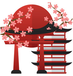 japan pagoda gate sunset sakura background vector image
