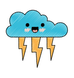 Kawaii cloud with lightnings in colored crayon vector