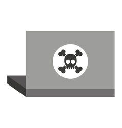 laptop with alert skull isolated icon design vector image