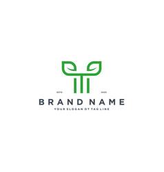 Leaf letter t logo design vector
