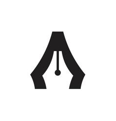 Letter a pen drawing symbol logo vector