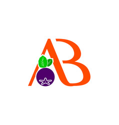 Letter ab with aronia berry logo concept vector