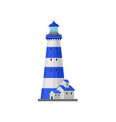 Lighthouse with stripes near house vector