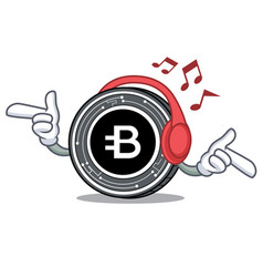 listening music bytecoin coin mascot cartoon vector image