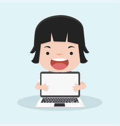 little girl with holding a laptop vector image