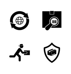 logistic delivery simple related icons vector image