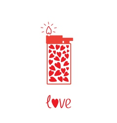Love lighter with hearts Card vector
