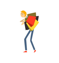 Man loaded with shopping bags cartoon vector