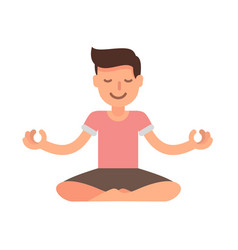 Man meditating in lotus yoga vector
