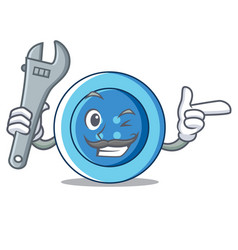 Mechanic clothing button character cartoon vector