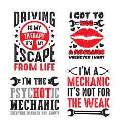 Mechanic saying quote set vector
