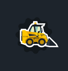 mini loader yellow flat style commercial vector image
