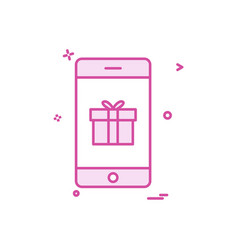 mobile gift box icon design vector image