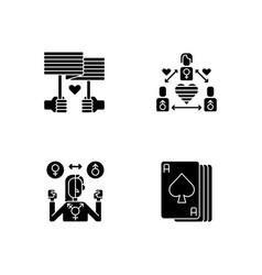 Partner choice black glyph icons set on white vector