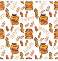 Peanuts seamless pattern with cute butter jar vector