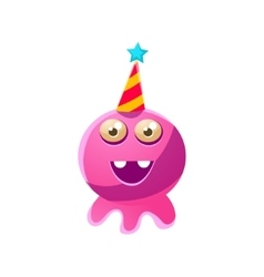 Pink Round Toy Monster In Party Hat vector image