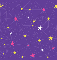 purple stars network seamless pattern vector image