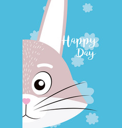 Rabbit cute animal cartoon card vector