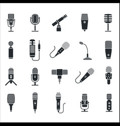 Radio and music microphone icon set vector