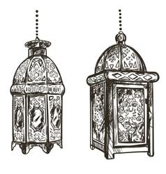 Ramadan Kareem with lamps in vector