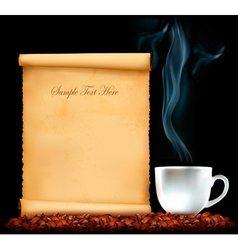 restaurant menu on old paper and coffee vector image