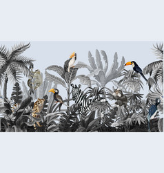 seamless border with jungle trees and animals in vector image