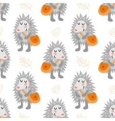 Seamless pattern with hedgehog vector image