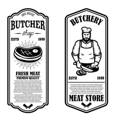 Set meat store flyers design element for vector