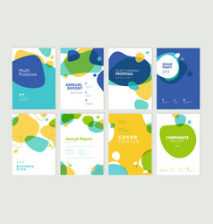 Set of brochure annual report design template vector