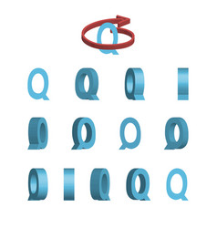 Sheet of sprites rotation of cartoon 3d letter q vector