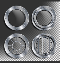silver porthole round metal window with vector image