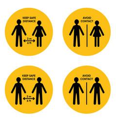 Simple round social distancing icon set vector