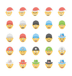 Smiley flat icons set 29 vector