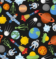 Space seamless pattern Planets and rockets UFO and vector image