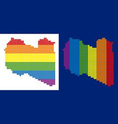 spectrum pixel dotted libya map vector image