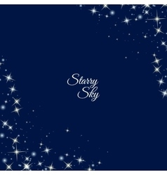 Starry frame on dark blue background vector