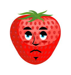 strawberry sad emoji red berry sorrowful emotion vector image