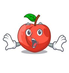 Surprised cartoon fresh sweet nectarines in the vector