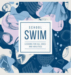 Swim school emblem vector