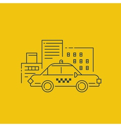 Taxi car and buildings concept vector image